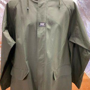 Helly Hansen Hooded Rain Slicker Jacket Green Mens